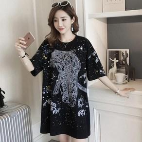 47a15329900 (1). kirahosi 여성 롱 티셔츠 원피스 맨투맨 반팔 빅사이즈 +스마트스트랩 증정 YZ 570980238949